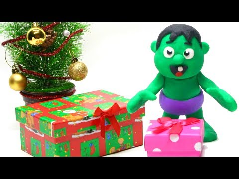 connectYoutube - Baby Hulk unboxing Christmas gifts Stop motion play doh superhero video for kids