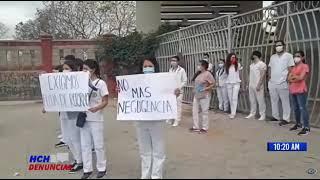 ¡Plantón frente a la #UNAH! Que se retorne a Clases Presenciales, piden estudiantes de Odontología