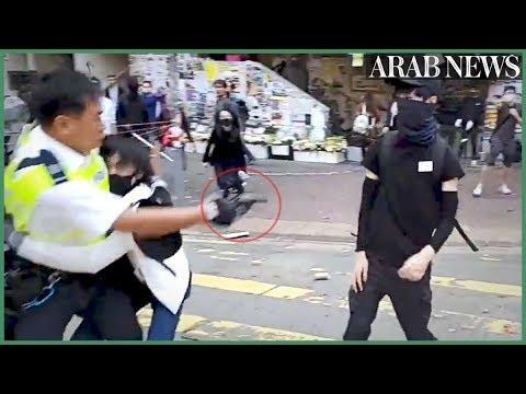 Hong Kong police shoot protester during clashes
