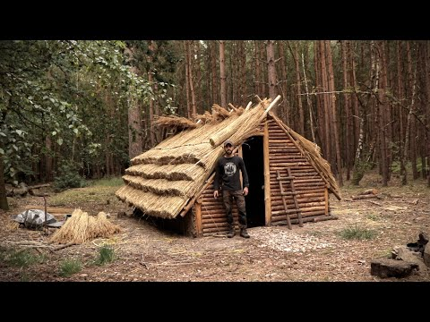 Building a Thatch Roof House: Full Bushcraft Shelter Build with Hand Tools | Saxon House
