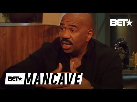 Uh Oh! Steve Harvey Shares Interesting Thoughts On Gender Roles | BET's Mancave