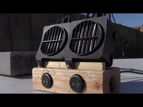 DIY Solar Electric Air Heater! 200W 12V DC Air Heater! w/dual fans! high/low pwr! topped 120F/50C!