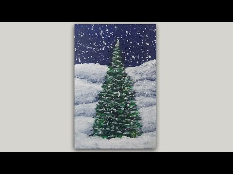 Winter Pine Tree Acrylic Painting - One Brush Painting