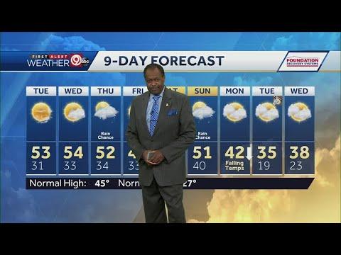 Temps climb into low 50s Tuesday