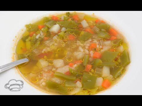 Como hacer sopa de verduras y arroz para dieta, cocina sana
