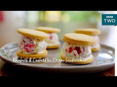 Rhubarb & Custard Ice Cream Sandwiches | Nadiya's British Food Adventure: Episode 5 - BBC Two