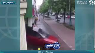 امرأة تتسبب بحادث شنيع