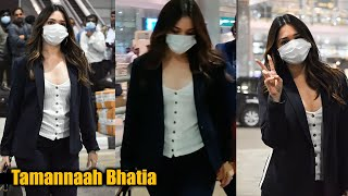 Actress Tamannaah Spotted @ Hyderabad Airport | Telugu Actress Airport Videos - TFPC