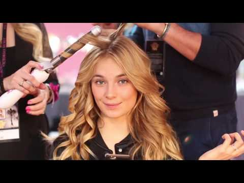 Bridget Malcolm uses The Beachwaver® backstage to get sexy, Victoria's Secret Hair!