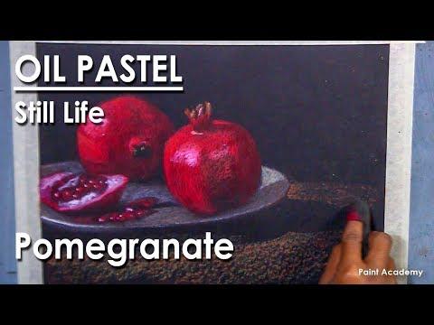 Oil Pastel Still Life Drawing : Pomegranate