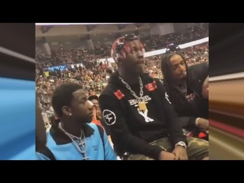 connectYoutube - Migos  Sit Side Court With Gucci Mane & Lil Yachty At Hawks Game