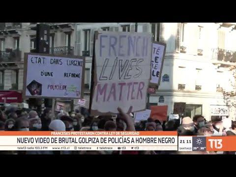 Franceses protestaron contra ley de seguridad: Nuevo video de golpiza de policías a hombre negro