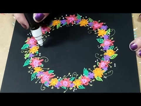 Drawing a Flower Wreath with Paint Pens on Black Paper Creative Doodles by BeCre8ive2