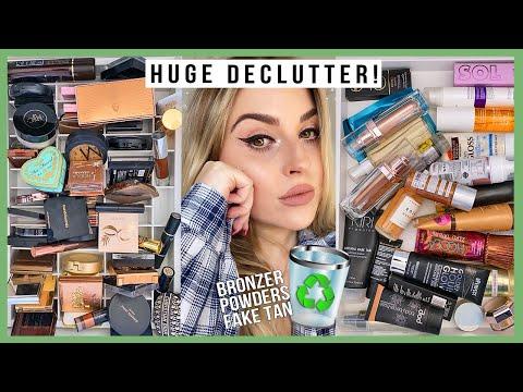 HUGE makeup declutter 2020! ?? powders, bronzers, fake tan & more!