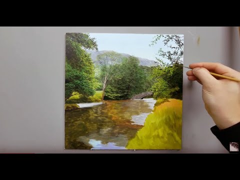 #125 Painting A Shallow River Time Lapse.