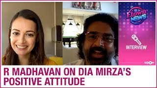 R Madhavan asks Dia Mirza the reason behind her radiant and positive attitude - ZOOMDEKHO