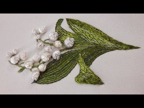 How to embroider a leaf | silk stitch 3D Embroidery |