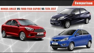 Honda Amaze vs Ford Figo Aspire vs Tata Zest | Comparison Video| CarDekho.com