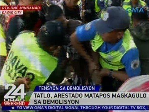 24 Oras: 3, arestado matapos magkagulo sa demolisyon sa Davao City