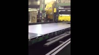 Sheets of steel getting cut