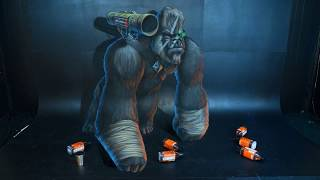Epic Planet of The Apes Gorilla Warrior! - 3D Chalk Art - AWEMe Artists