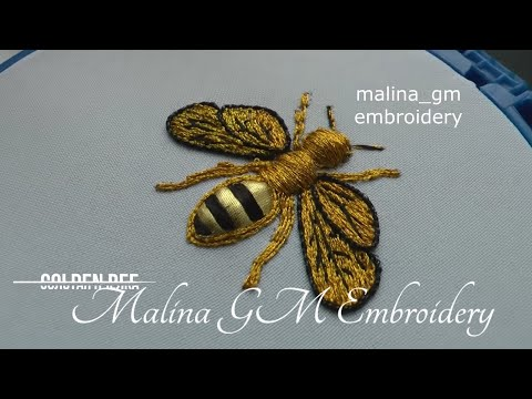 Hand Embroidery | Golden bee | couching | easy design