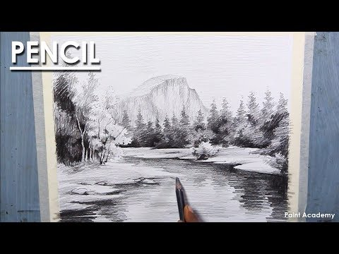 Pencil Shading Techniques : A Mountain Landscape Drawing