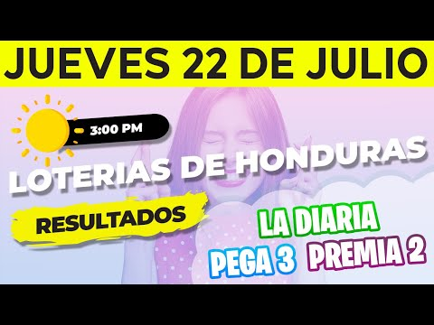 Sorteo 3PM Loto Honduras, La Diaria, Pega 3, Premia 2, Jueves 22 de Julio del 2021 | Ganador