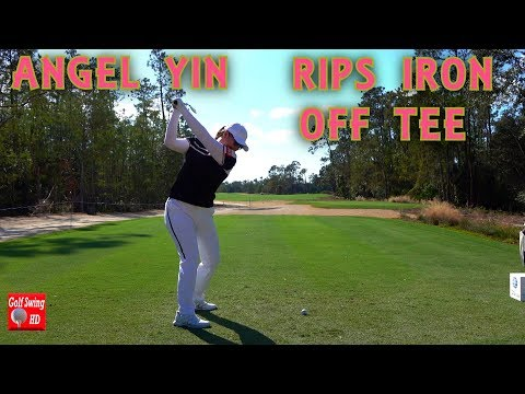 ANGEL YIN RIPS IRON OFF TEE - SLOW MOTION DTL GOLF SWING 1080 HD