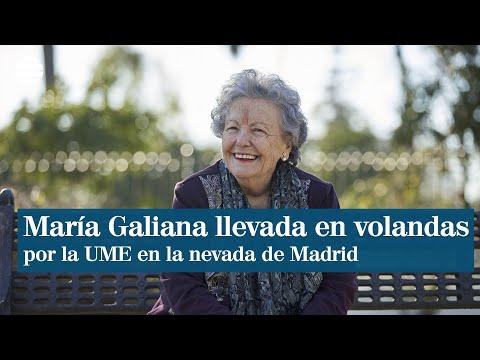 María Galiana llevada en volandas por la UME en plena nevada en Madrid
