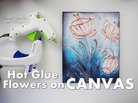DIY Flowers on Canvas using Hot Glue ♡ Easy for Beginners ♡ Maremi's Small Art ♡