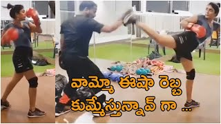 Actress Eesha Rebba Doing Boxing Workout At GYM | TFPC - TFPC