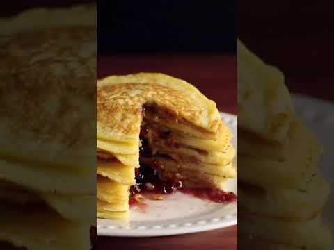 The BEST Peanut Butter & Jelly Pancakes EVER #shorts