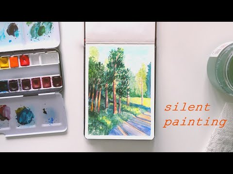 Sunset Trees - 1 hour sketchbook process // Silent Painting