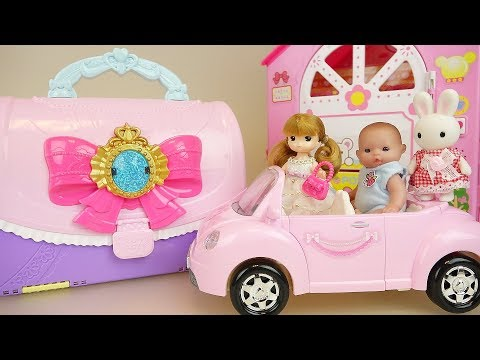 Bag house baby doll car and change dress with surprise eggs toys play
