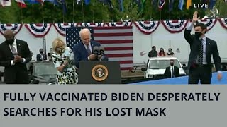 President Biden desperately searches for his lost mask during an appearance in Georgia
