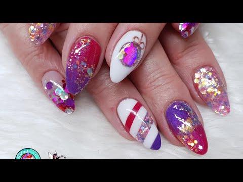 Pink & Purple Christmas Nails - Glitter Embedding - Geometric Designs