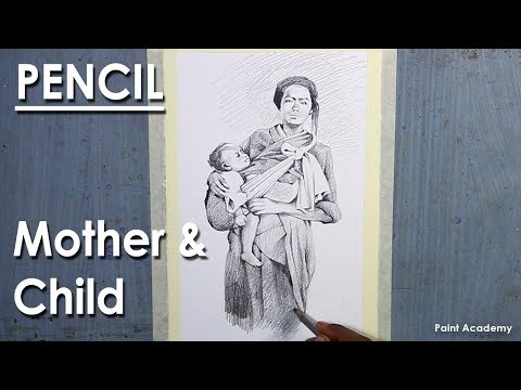 Pencil Drawing : Mother and Child composition