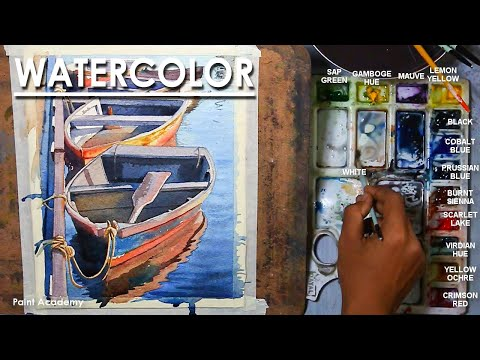 Watercolor Painting : A Composition on Boats
