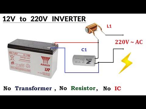 12v DC to 220v AC Converter ( INVERTER ) - No Transformer, No Resistor, No IC