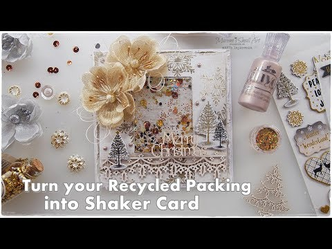 Cheap Recycled Shaker Christmas Card from Packing ♡ Maremi's Small Art ♡