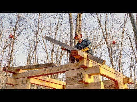 Timber Frame Roof for My Log Cabin Off Grid Workshop | Egg Tanning Buckskin