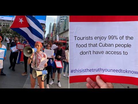 Cubanos se manifiestan en Toronto para disuadir a los canadienses de viajar a la isla