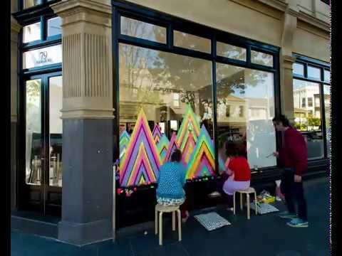 Perth Artist Pip & Pop's installation of MECCA's 2016 Holiday Windows