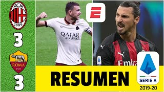 Milan 3-3 Roma. Doblete de Zlatan Ibrahimovic no evitó fin de la racha ganadora del líder | Serie A