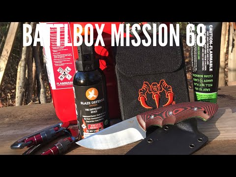 BattlBox Mission 68: Hunting/Outdoor Knife, Gas Can, Fire Starter, Carabiners, and More