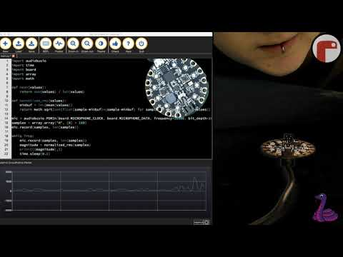 Sensor graphing with plotter. CircuitPython + Mu + Sound @adafruit #codewithmu #circuitpython