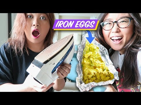 Cooking with CLOTHING IRON ► Scrambled Eggs with Cheese (ft. Heyitsfeiii)