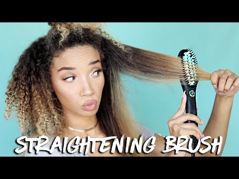 DOES IT WORK? Testing a Straightening BRUSH on CURLY hair!