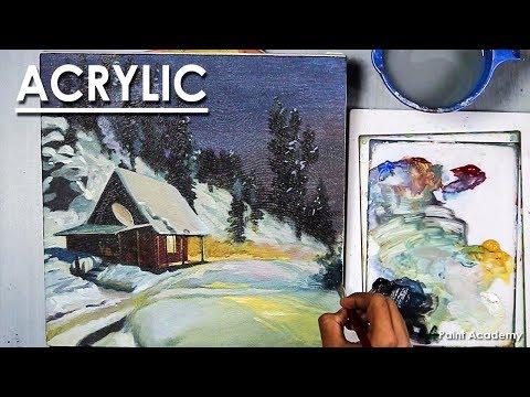 Winter Night- Acrylic Painting step by step | Artist- Composer: Supriyo